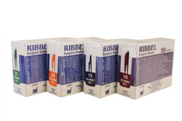 Ribbel-terä nro15, steriloidut 100 kpl, hiilikuitu