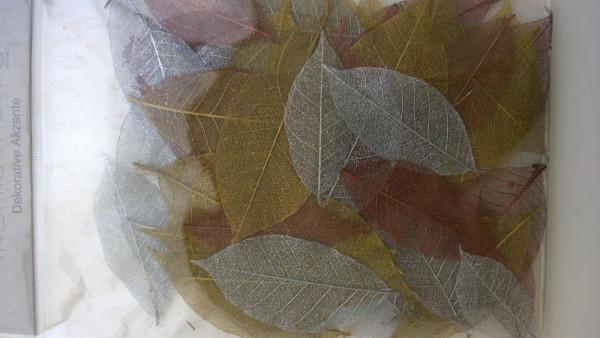 Deko leaves gold/silver/bronze
