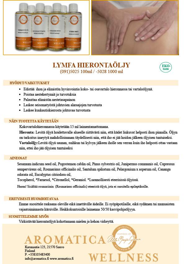 TilaustuoteAromatica Lymfa hierontaöljy 1000ml