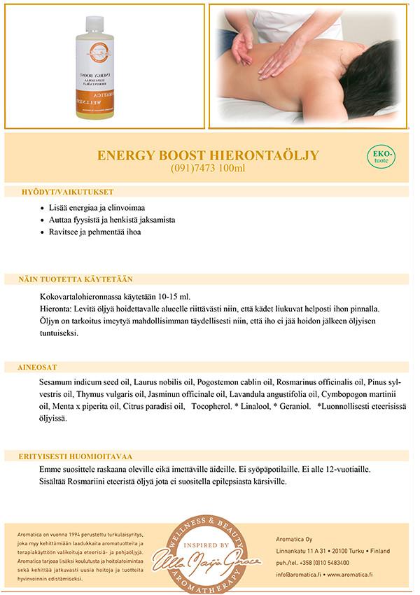 Energy Boost hierontaöljy 100ml