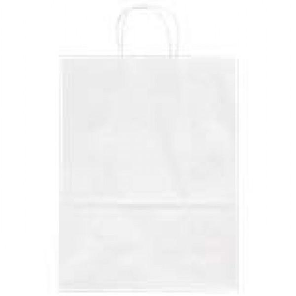 Valkoinen paperikassi kannakkeilla