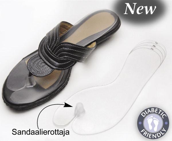 Geelipohjallinen sandaalierottajalla, yksi koko