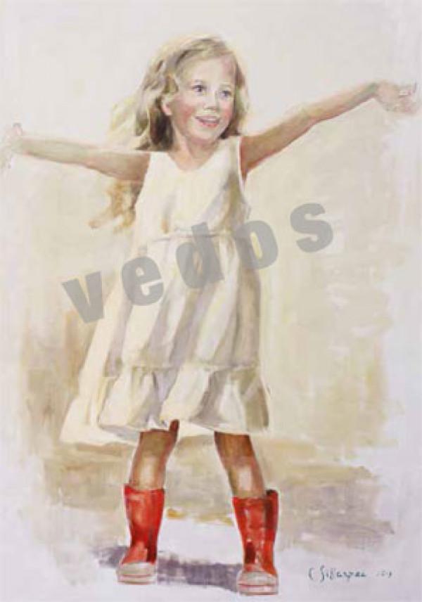 Postikortti 10x15 cm,Tyttö punaisissa saappaissa